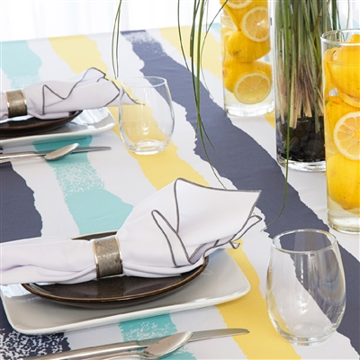Multi Mod Tablecloth - Aqua/Steel Grey/Lemon Zest