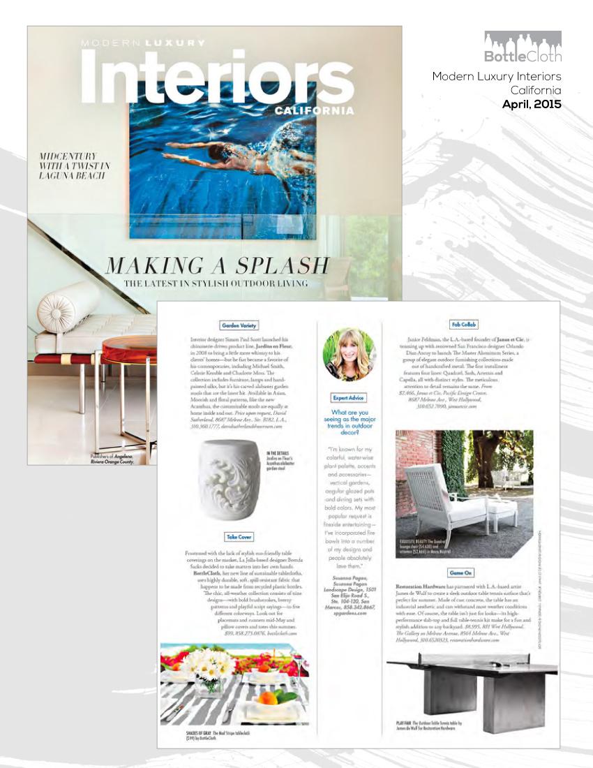 BottleCloth Press - Modern Luxury Interiors California