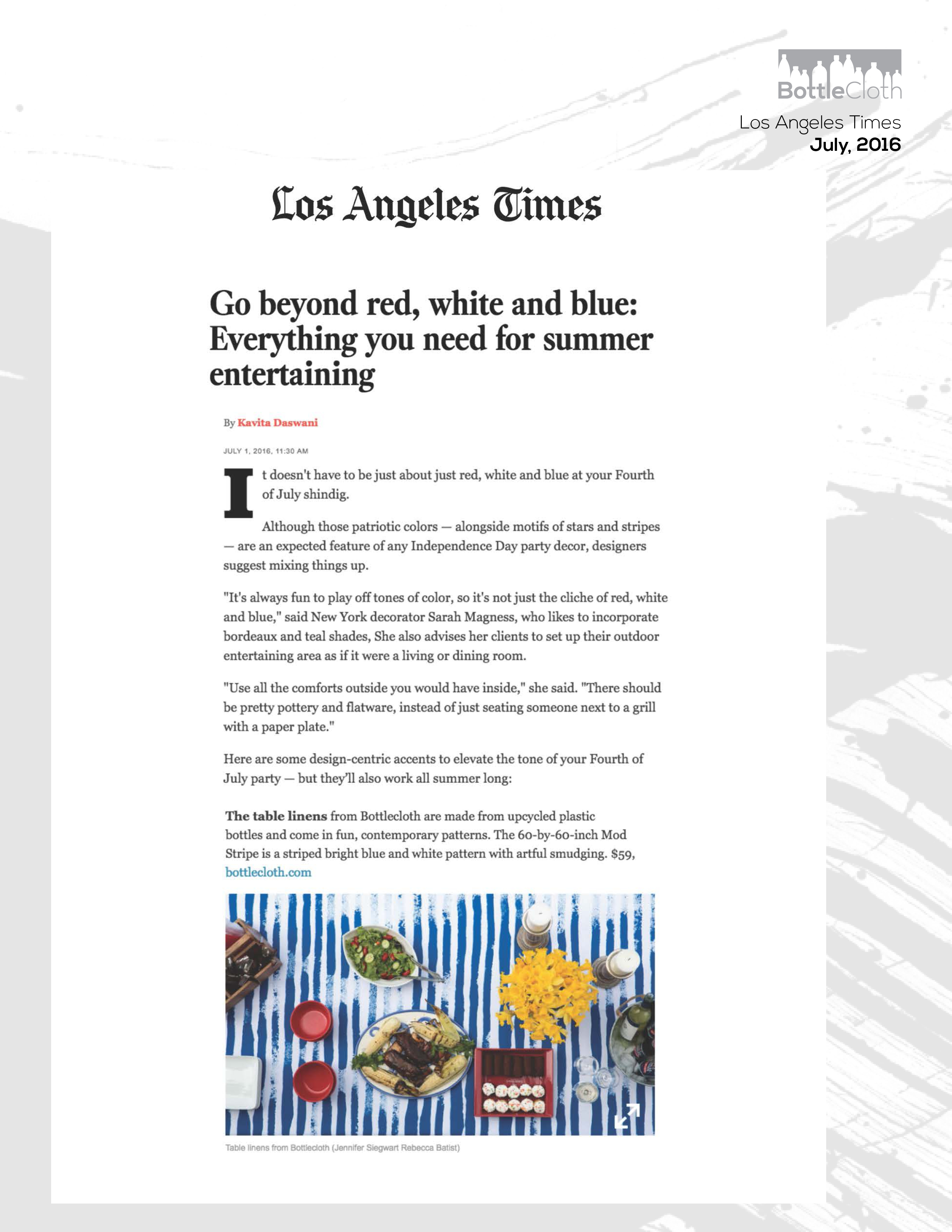 BottleCloth Press - LA Times